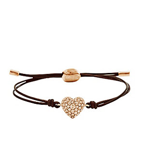 Fossil Brown Leather Bracelet With Crystal Set Heart - Product number 4489217