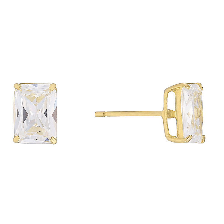 9ct Yellow Gold Rectangular Cubic Zirconia Studs - Product number 4489284