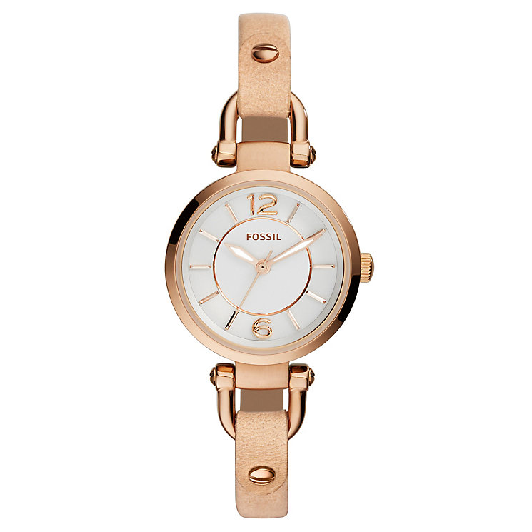 Fossil Ladies' Rose Gold-Plated Sand Leather Strap Watch - Product number 4489306
