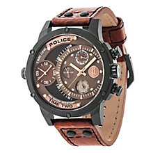Police Men's Brown Multi Dial Brown Leather Strap Watch - Product number 4489381