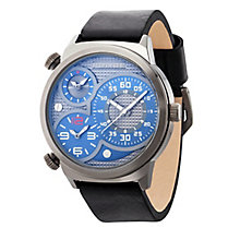 Police Men's Grey Multi Dial Black Leather Strap Watch - Product number 4489829