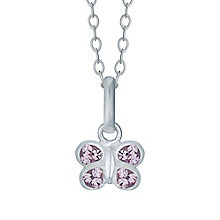 Children's Sterling Silver Pink Crystal Butterfly Pendant - Product number 4489950