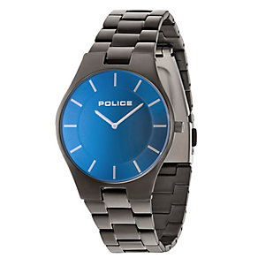 Police Men's Blue Dial Gunmetal Ion-Plated Bracelet Watch - Product number 4490002