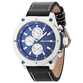 Police Men's Blue Multi Dial Black Leather Strap Watch - Product number 4490053