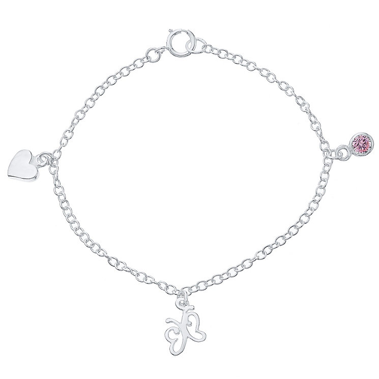 Sterling Silver Cubic Zirconia Charm Bracelet - Product number 4490118