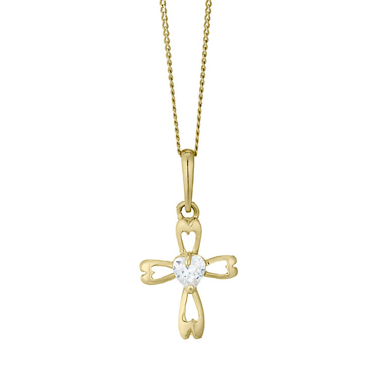 Children's 9ct Yellow Gold Cubic Zirconia Cross Pendant - Product number 4490150