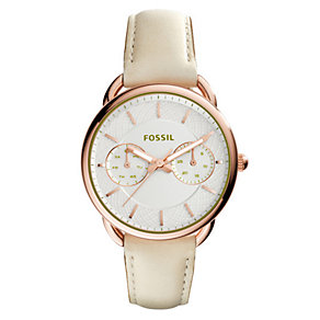 Fossil Ladies' Rose Gold-Plated Cream Leather Strap Watch - Product number 4490169