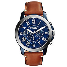 Fossil Men's Stainless Steel Tan Leather Strap Watch - Product number 4490436