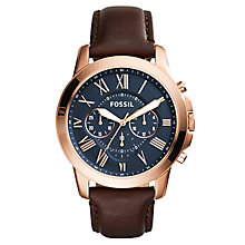 Fossil Men's Rose Gold-Plated Brown Leather Strap Watch - Product number 4490479