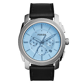 Fossil Men's Stainless Steel Black Leather Strap Watch - Product number 4490797