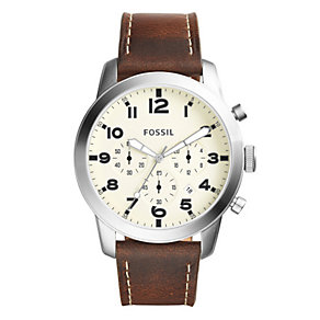 Fossil Men's Stainless Steel Brown Leather Strap Watch - Product number 4492005