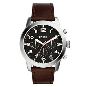 Fossil Men's Stainless Steel Tan Leather Strap Watch - Product number 4492056