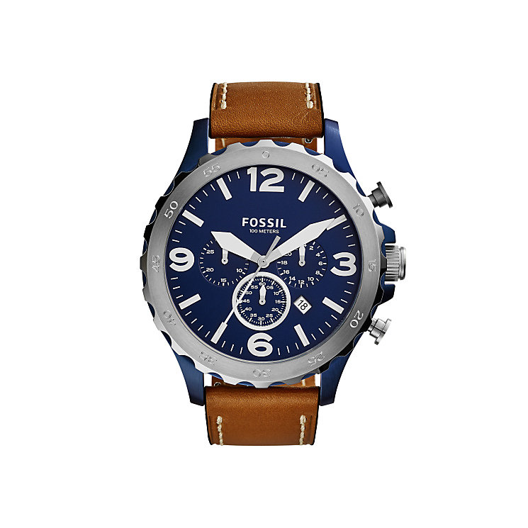 Fossil Men's Stainless Steel Brown Leather Strap Watch - Product number 4492102