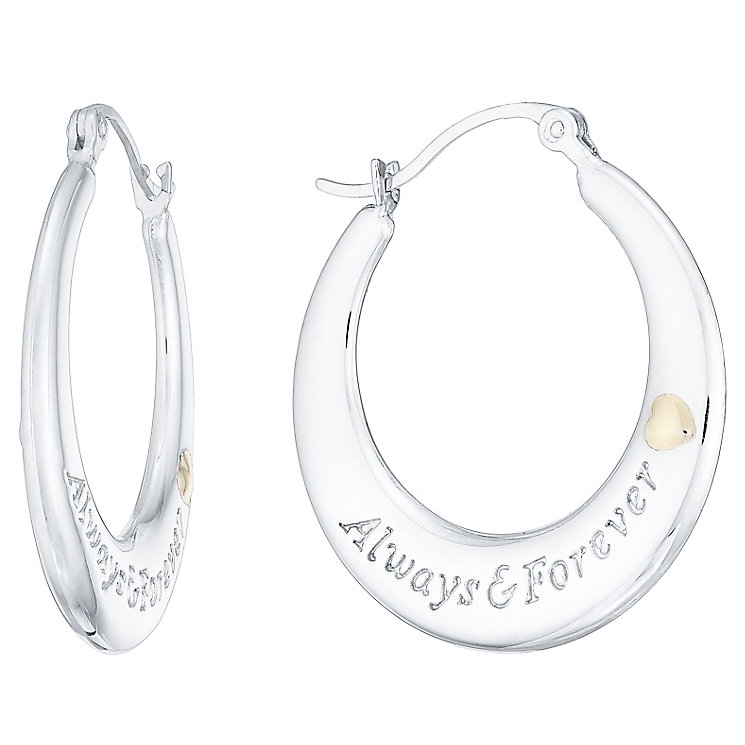 Sterling Silver & 9ct Gold Always In My Heart Creoles - Product number 4492137