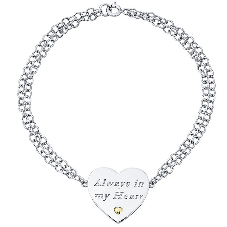 Sterling Silver & 9ct Gold Always In My Heart Bracelet - Product number 4492145