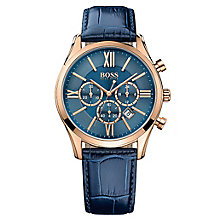 Hugo Boss Chronograph Men's Rose Gold Plated Strap Watch - Product number 4492161