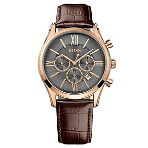 Hugo Boss Chronograph Men's Rose Gold Plated Strap Watch - Product number 4492196