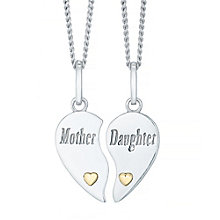 Always In My Heart Silver & 9ct Gold Mother Daughter Pendant - Product number 4492218
