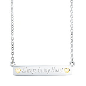 Sterling Silver & 9ct Gold 'Always In My Heart' Bar Necklace - Product number 4492234