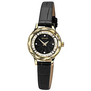 Sekonda Ladies' Stone Set Black Leather Strap Watch - Product number 4492269