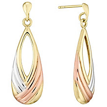 9ct Three Tone Striped Drop Earrings - Product number 4492277