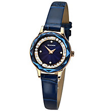 Sekonda Ladies' Stone Set Navy Blue Leather Strap Watch - Product number 4492293