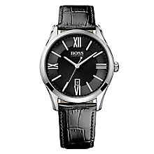 Hugo Boss Men's Stainless Steel Black Leather Strap Watch - Product number 4492315