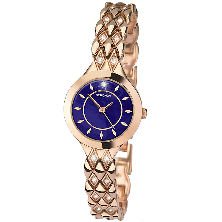 Sekonda Ladies' Stone Set Rose Gold-Plated Bracelet Watch - Product number 4492358