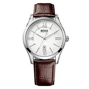 Hugo Boss Men's Stainless Steel Brown Leather Strap Watch - Product number 4492366