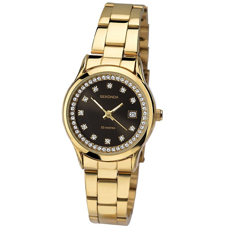 Sekonda Ladies' Stone Set Gold-Plated Bracelet Watch - Product number 4492390