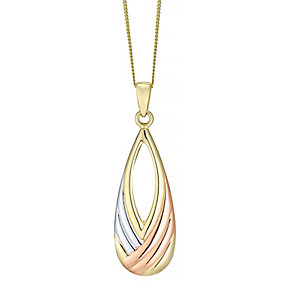 9 Carat Gold Three Tone Teardrop Cut Out Pendant - Product number 4492498