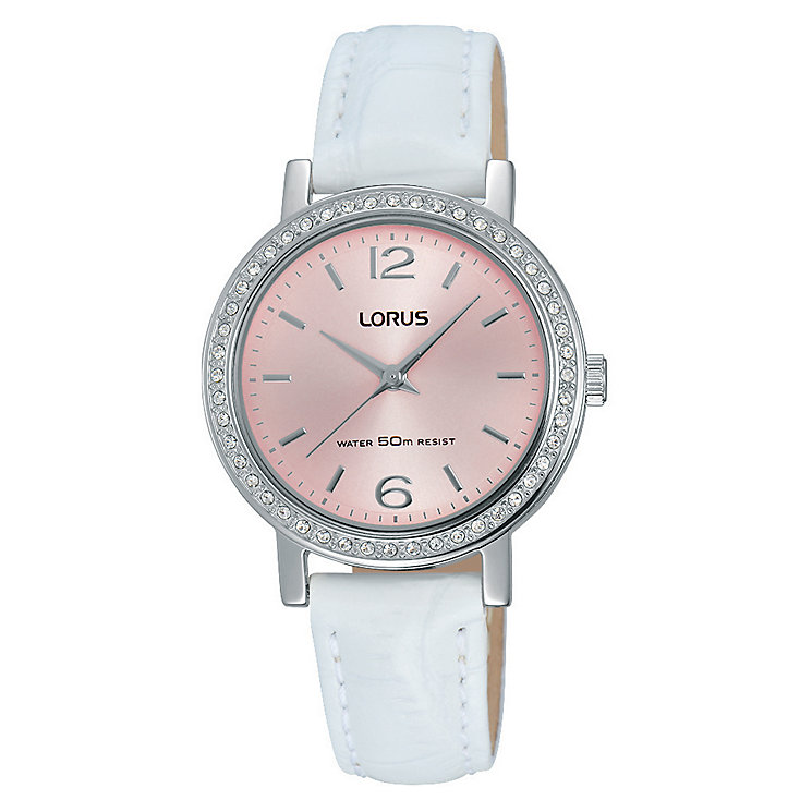 Lorus Women's White Leather Strap Pink Dial Watch - Product number 4493583