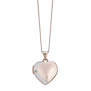 9ct Rose Gold Diamond Set Heart Locket - Product number 4493648