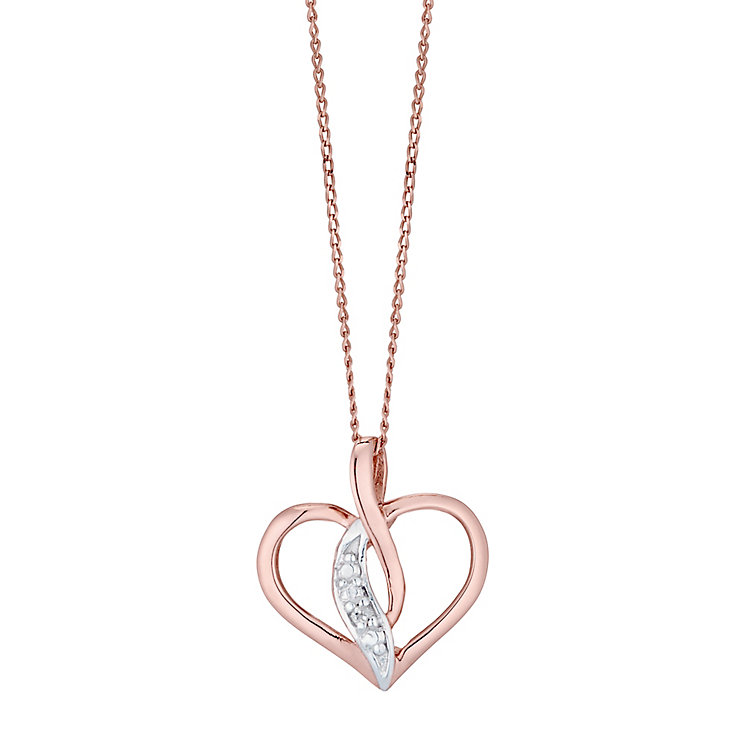 9ct Rose Gold Diamond Open Heart Pendant - Product number 4493664