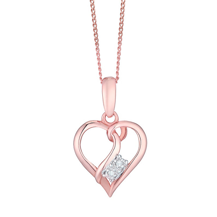 9ct Rose Gold Diamond Open Heart Pendant - Product number 4493672