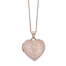 9ct Rose Gold Plain Patterned Heart Locket - Product number 4493680