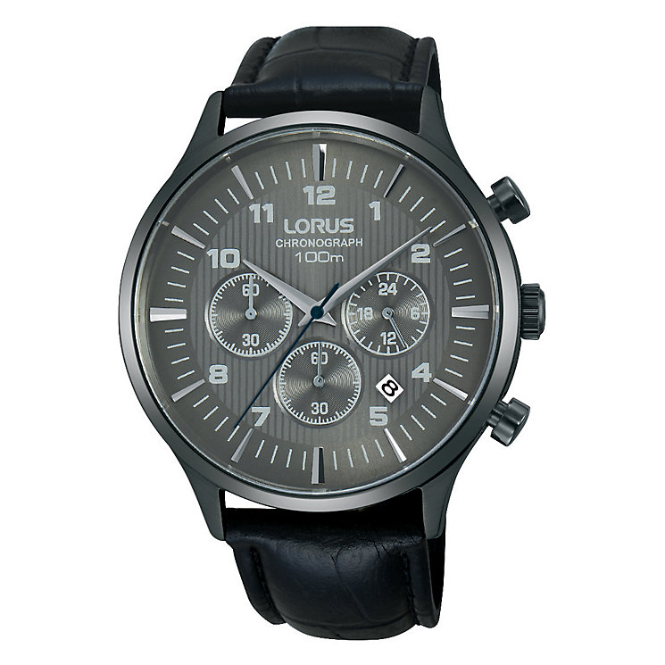Lorus Men's Black Leather Strap Grey Dial Watch - Product number 4493729