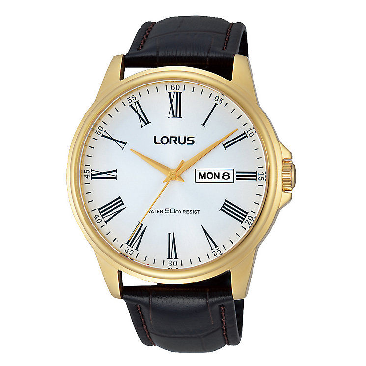 Lorus Men's Black Leather Strap White Dial Watch - Product number 4493842