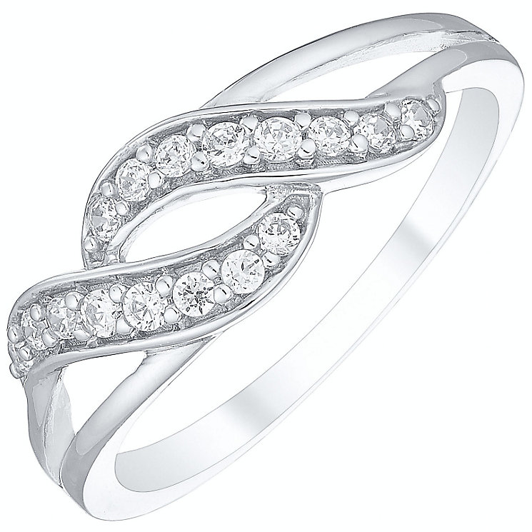 9ct White Gold Cubic Zirconia Set Wave Ring - Product number 4494172