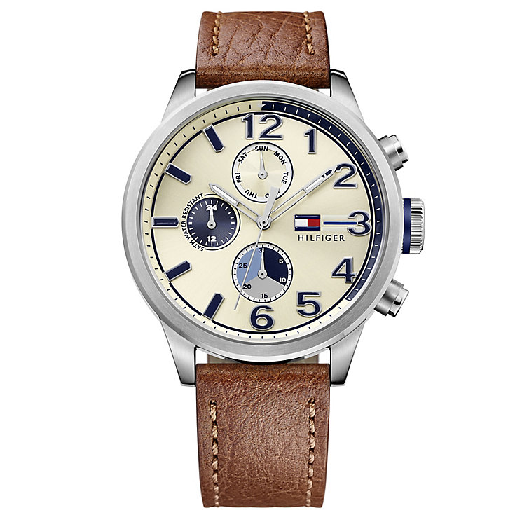 Tommy Hilfiger Men's Brown Leather Strap Watch - Product number 4495705