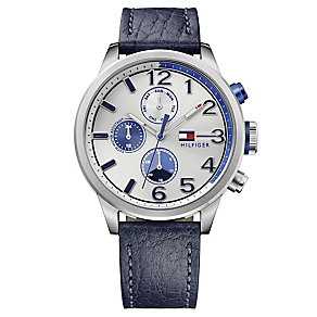 Tommy Hilfiger Men's Blue Leather Strap Watch - Product number 4495713