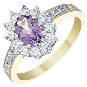9ct Gold & Rhodium Amethyst Cluster Ring - Product number 4495721