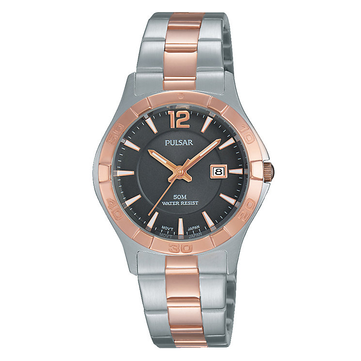 Pulsar Men's Rose Gold Plated Grey Dial Bracelet Watch - Product number 4499468