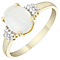 9ct Yellow Gold Oval Opal & Cubic Zirconia Ring - Product number 4500369