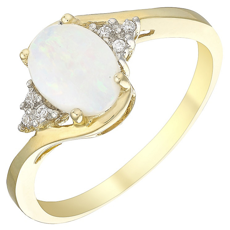 9ct Yellow Gold Oval Opal & Cubic Zirconia Swirl Ring - Product number 4500512