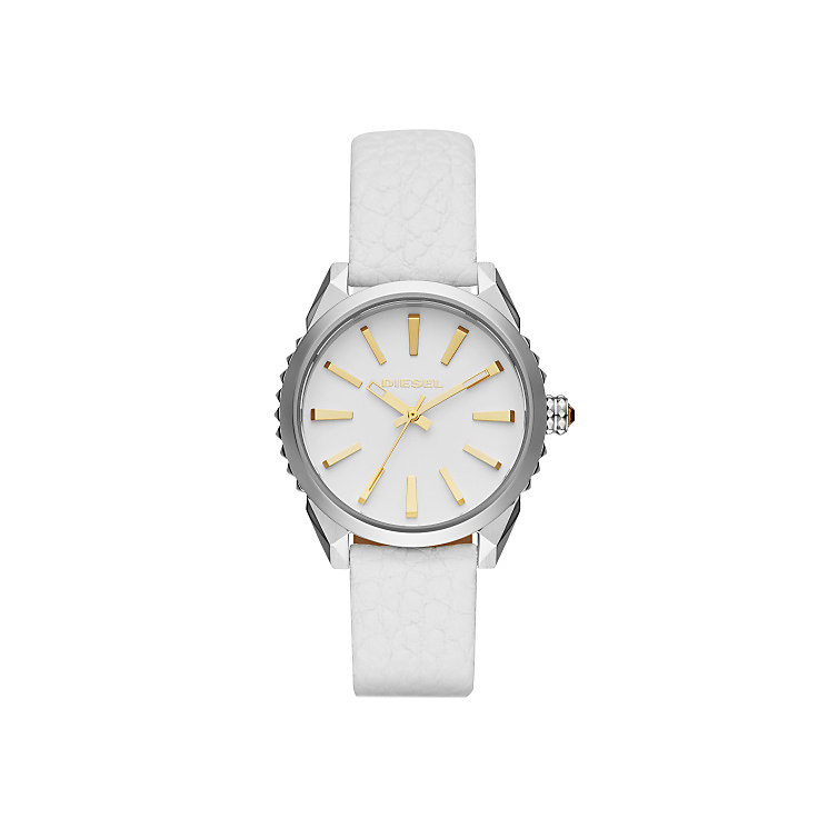 Diesel Ladies Nuki White Dial & Leather Strap Watch - Product number 4500725