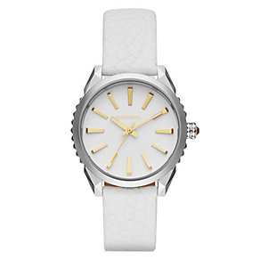 Diesel Ladies' Stainless Steel White Leather Strap Watch - Product number 4500725