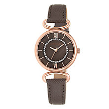 Anne Klein Ladies' Stone Set Brown Leather Strap Watch - Product number 4500741