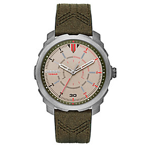 Diesel Men's Champagne Dial Green Canvas Strap Watch - Product number 4500806
