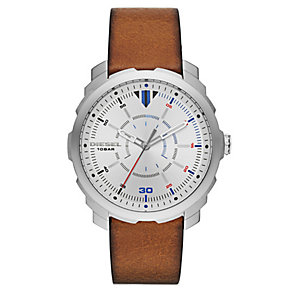 Diesel Men's Silver Dial Brown Leather Strap Watch - Product number 4500865